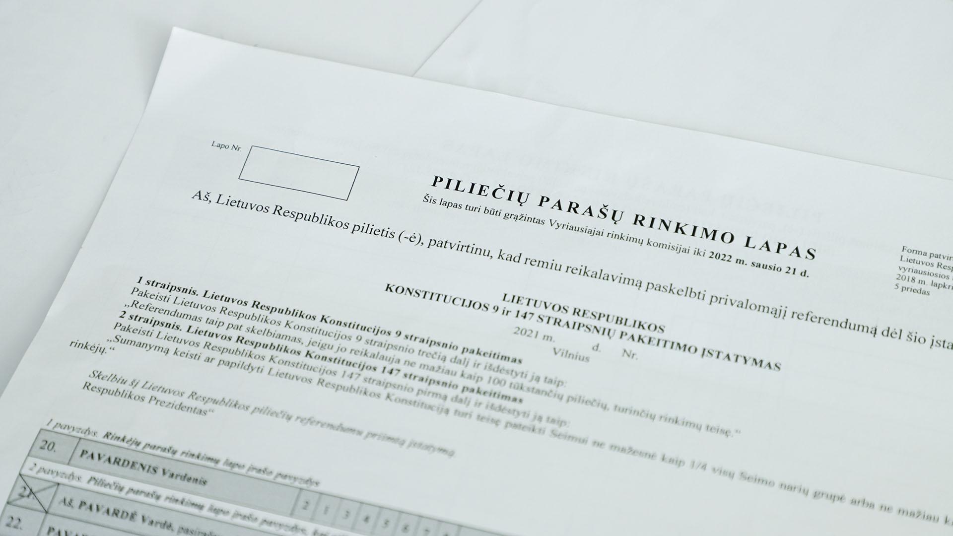 VRK išdavė parašų rinkimo lapus piliečių referendumo iniciatyvinei grupei